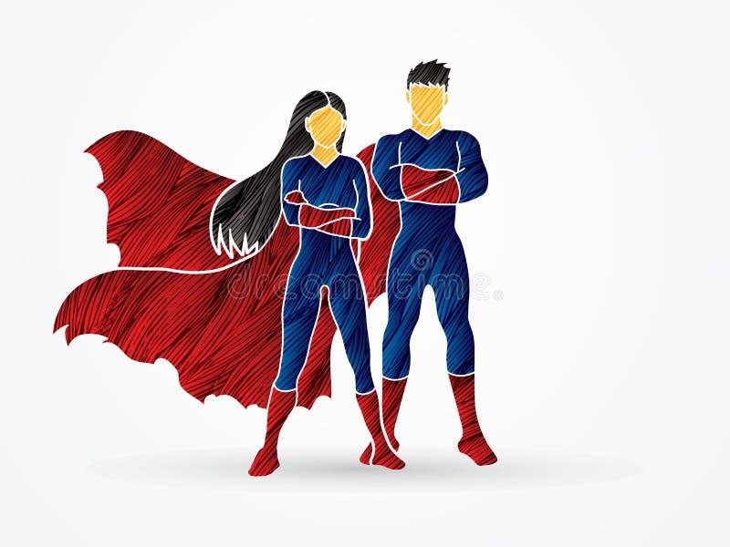 Van de Superheroman en Vrouw status vector illustratie