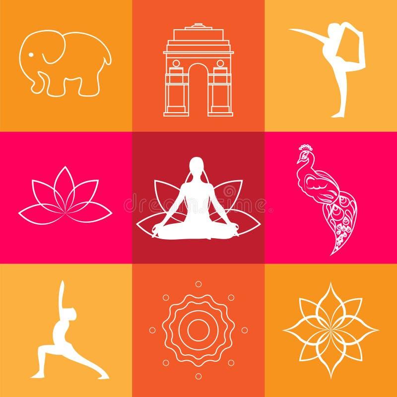 Van de symbolenelementen van India van de de lotusbloemyoga de pauwaffiche royalty-vrije illustratie