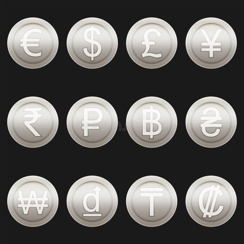 Van de symbolenpictogrammen van muntmuntstukken glanzende metaal het platinareeks royalty-vrije illustratie