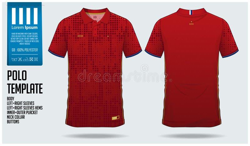 Van de de t-shirtsport van Rusland Team Polo het malplaatjeontwerp voor voetbal Jersey, voetbaluitrusting of sportkleding Klassie royalty-vrije illustratie