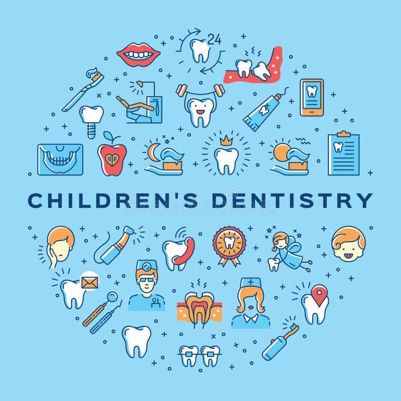 Van de de tandheelkundecirkel van kinderen van de infographicsstomatologie van de de zorg dunne lijn Tand de kunstpictogrammen stock illustratie