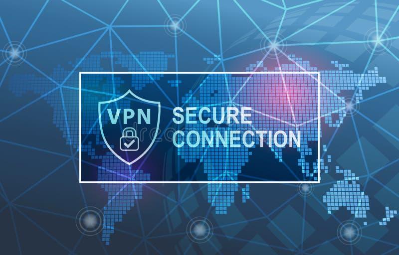 Van de de Technologie Veilige Verbinding van VPN Particulier netwerk de Veiligheidsachtergrond van Cyber vector illustratie