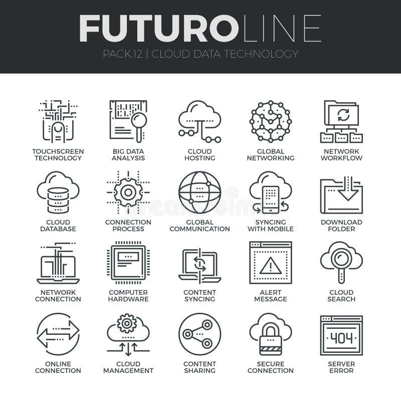 Van de Technologiefuturo van wolkengegevens Geplaatste de Lijnpictogrammen stock illustratie