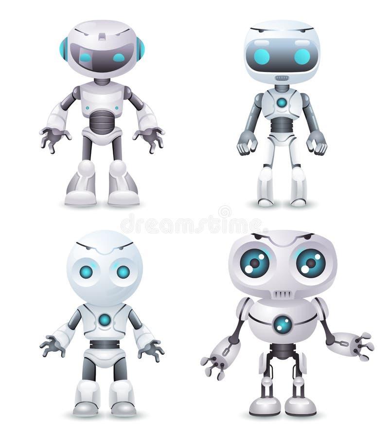 Van de de technologiescience fiction van de robotinnovatie toekomstige leuk weinig 3d ontwerp vectorillustratie stock illustratie