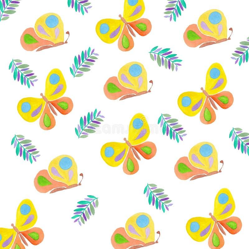 Van de tekeningsinsecten van het vlinderspatroon de de waterverfzomer stock illustratie