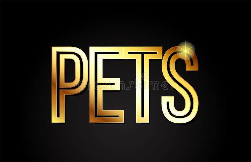 van de de teksttypografie van het huisdierenwoord pictogram van het het ontwerpembleem het gouden gouden stock illustratie