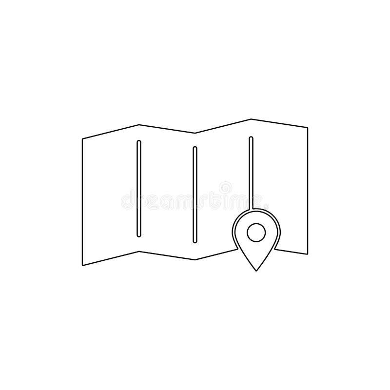 Van de de tellersnavigatie van de plaatskaart het pictogram van het de speldoverzicht De tekens en de symbolen kunnen voor Web, e royalty-vrije illustratie