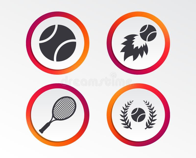 Van de tennisbal en racket pictogrammen Dit beeld is een vectorillustratie en kan aan om het even welke grootte zonder verlies va vector illustratie