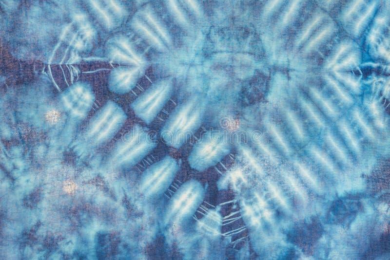 Van de de textuurkunst van de batik de blauwe kleurstof abstracte achtergrond stock afbeeldingen