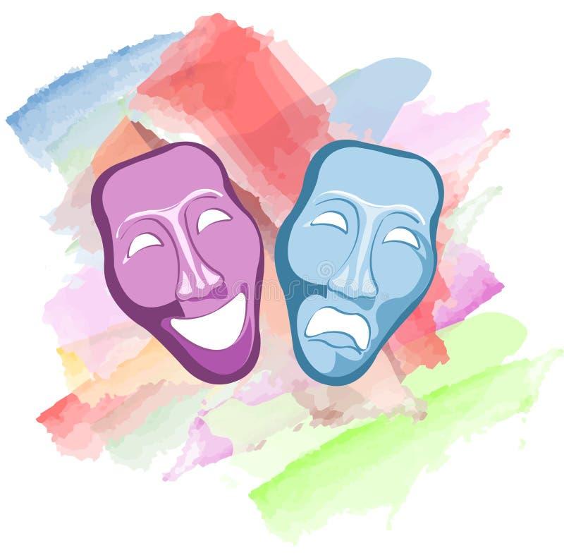 van de theater komedie en tragedie maskers stock illustratie