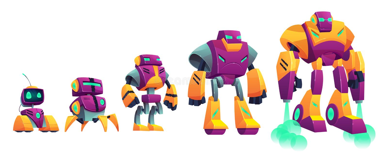 Van de de tijdlijn van de robotsevolutie het beeldverhaal vectorillustratie vector illustratie