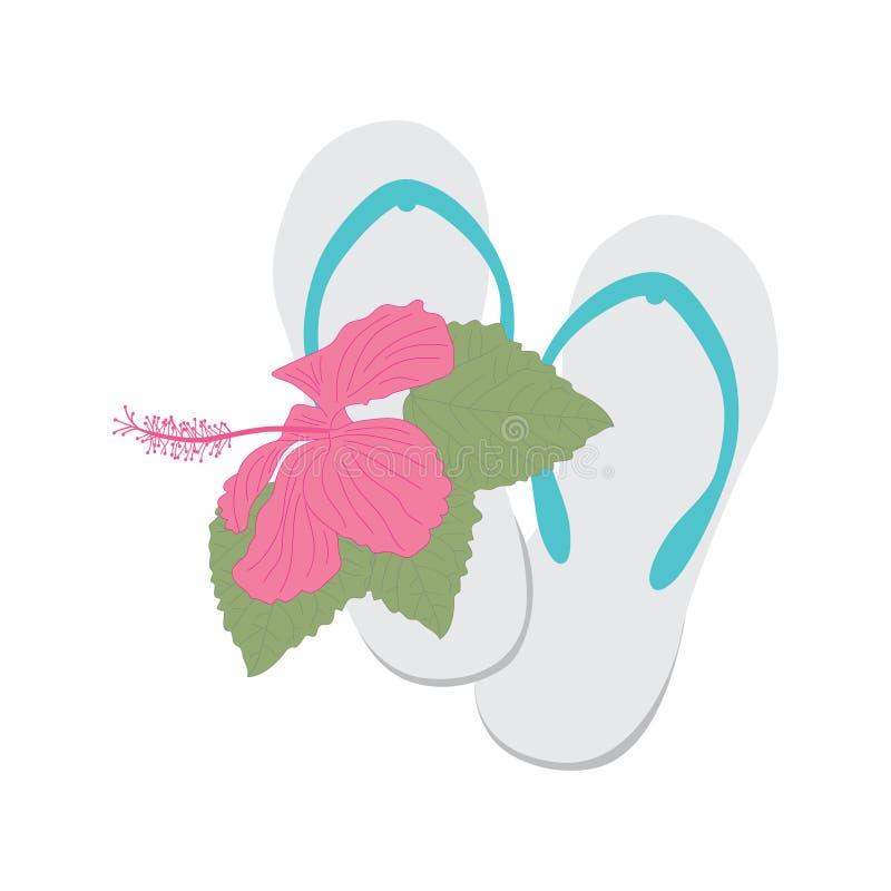 Van de tikkenploffen en hibiscus bloem royalty-vrije illustratie
