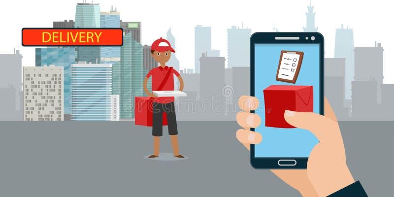 Van de de toepassingsbanner van de pizzalevering de vectorillustratie Hand die met smartphone orde doen Kerel of jongens de doos  vector illustratie
