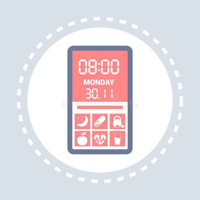 Van de de toepassingsinterface van het gezondheidsboek van de mobiele toepassingsmartphone van het het schermpictogram van de de  royalty-vrije illustratie
