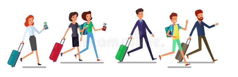 Van de toeristenman en vrouw het lopen De reizende mensen in reis dragen met bagagehaast, laat voor vliegtuig of registratie voor royalty-vrije illustratie
