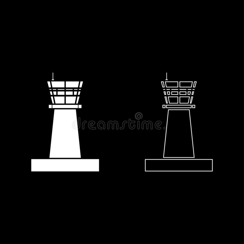 Van de de torencontrole van de luchthavencontrole van het de torenluchtverkeer van de het pictogram het vastgestelde witte kleur  vector illustratie