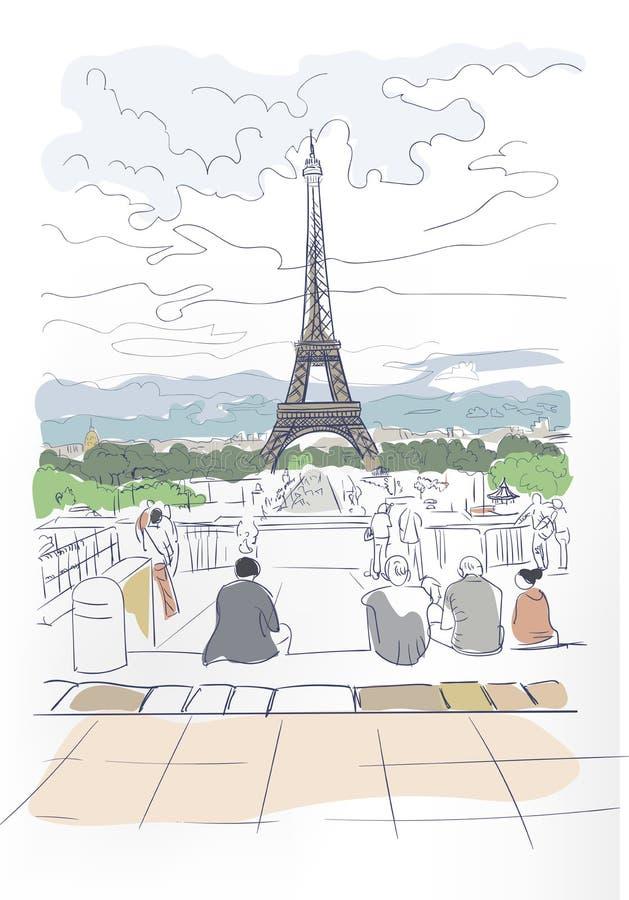 Van de de Torenschets van Eiffel kaart van de de kunstwaterverf de vector vector illustratie