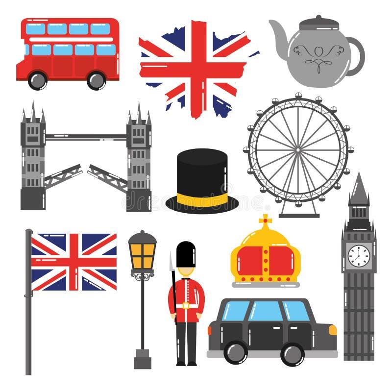 Van de toruismreis van Londen Engeland het oriëntatiepuntsymbool vector illustratie