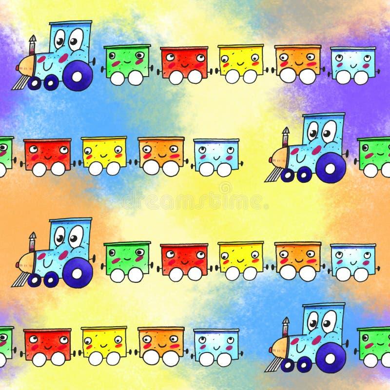 Van de de treinillustratie van het waterverfbeeldverhaal het naadloze patroon vector illustratie