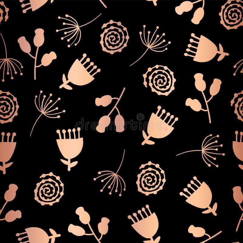 Van de de tulpenbloem van de koperfolie vector naadloze het patroonachtergrond Elegant nam goud bloemen op zwarte achtergrond toe vector illustratie