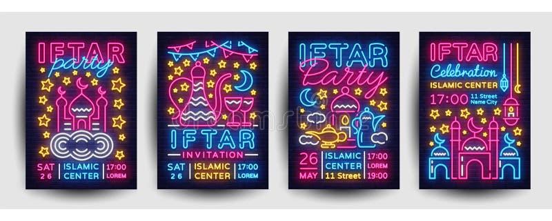 Van de de uitnodigingsinzameling van de Iftarpartij ontwerp van het de affiche het vectormalplaatje Heldere Islamitische illustra royalty-vrije illustratie