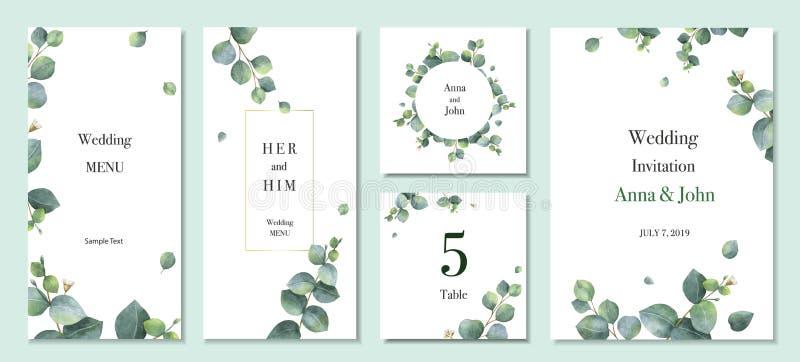 Van de de uitnodigingskaart van het waterverf vector vastgesteld huwelijk het malplaatjeontwerp met groene eucalyptusbladeren royalty-vrije illustratie
