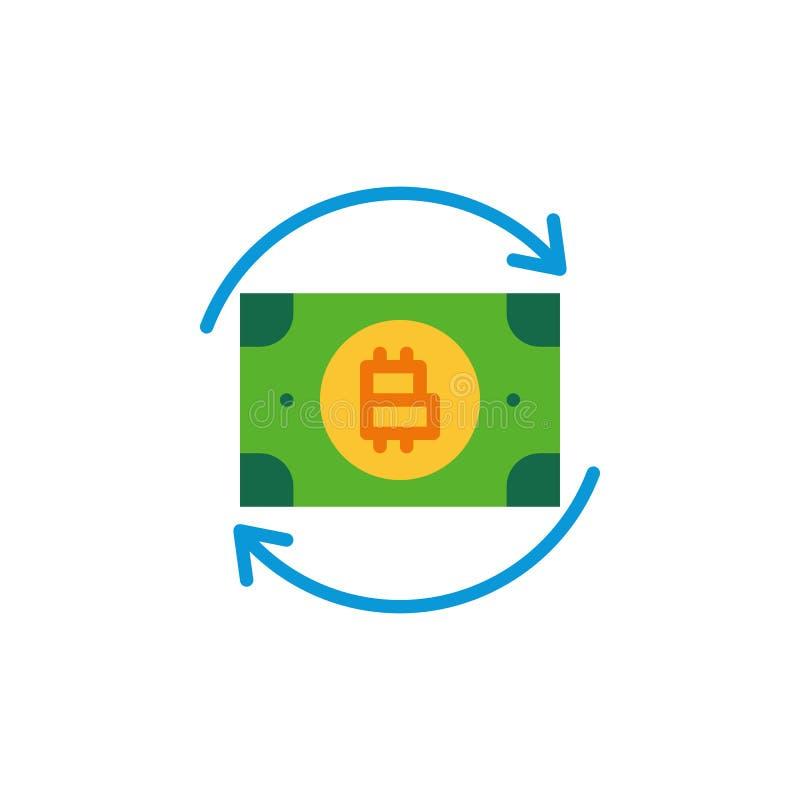 Van de uitwisselingspijlen van het Bitcoingeld het vlakke pictogram stock illustratie