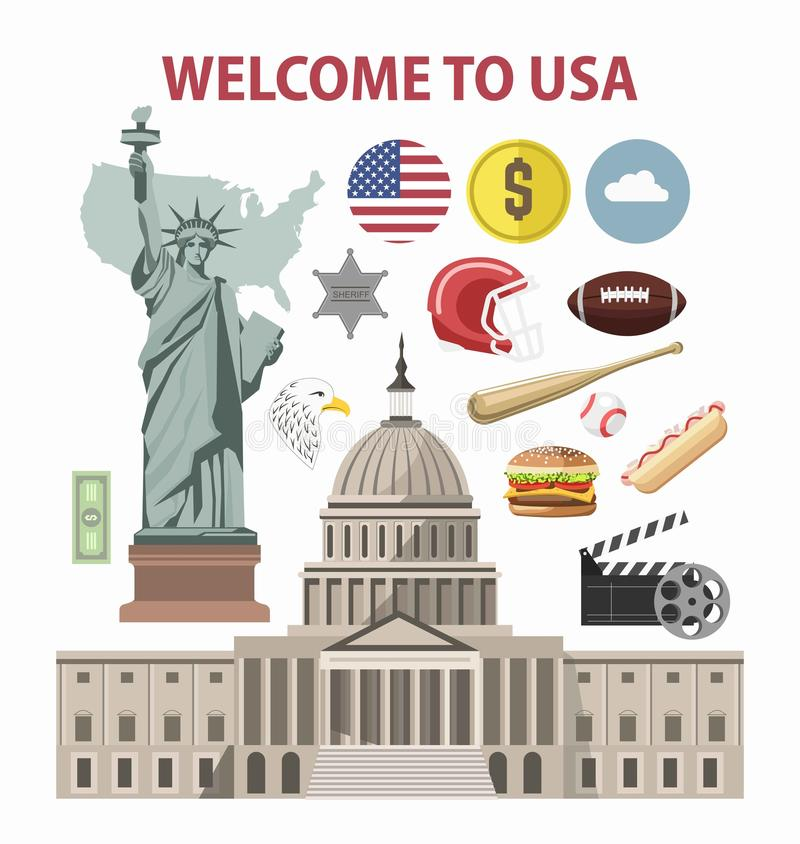 Van de V.S. de reis of van Amerika van de het malplaatje vectortoerist van de toerisme welkome affiche de oriëntatiepuntenaantrek stock illustratie
