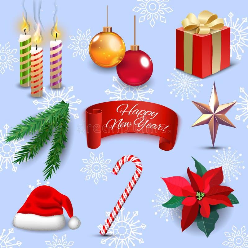 Van de de vakantiedecoratie van het Kerstmis de nieuwe jaar realistische pictogrammen geplaatst geïsoleerde vectorillustratie stock illustratie