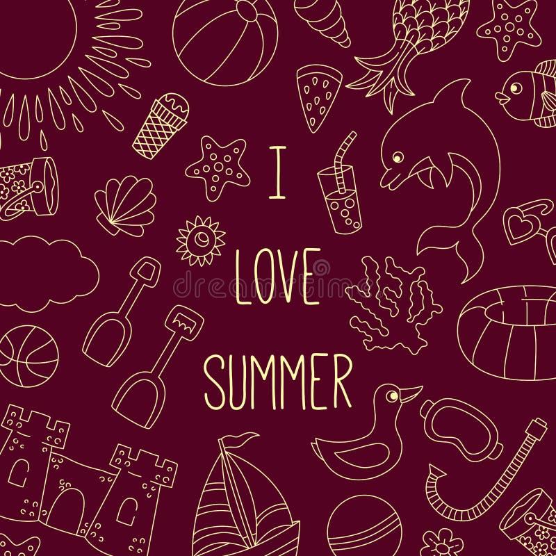 Van de de vakantiekrabbel van het de zomerstrand de banner van de de pictogrammenlijn vector illustratie