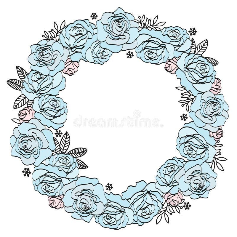 Van de de Vakantiepartij van de huwelijksverjaardag Bloemen de Kroon BLAUWE ROZEN royalty-vrije illustratie