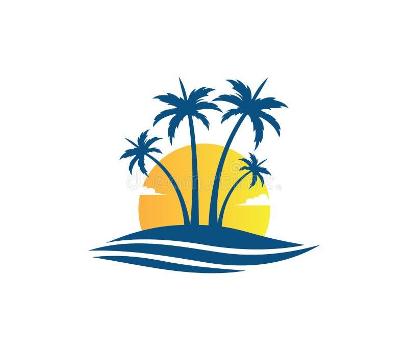 Van de de vakantiezomer van het hoteltoerisme van de het strandkokosnoot ontwerp van het de palm het vectorembleem royalty-vrije illustratie