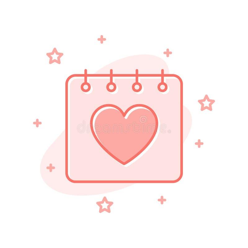 Van de de valentijnskaartdag van het kalender het vlakke ontwerp vectorconcept vector illustratie