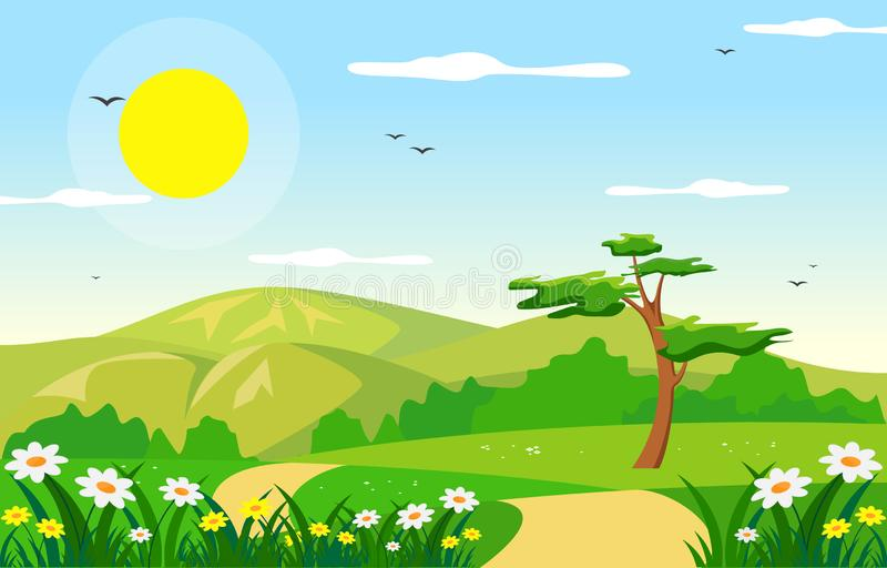 Van de de Vallei Heldere Zon van de de zomerlente Groene Openlucht het Landschapsillustratie stock illustratie