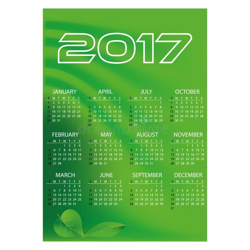 van de van bedrijfs 2017 eenvoudige groene de kleuren abstracte achtergrond eps10 muurkalender vector illustratie