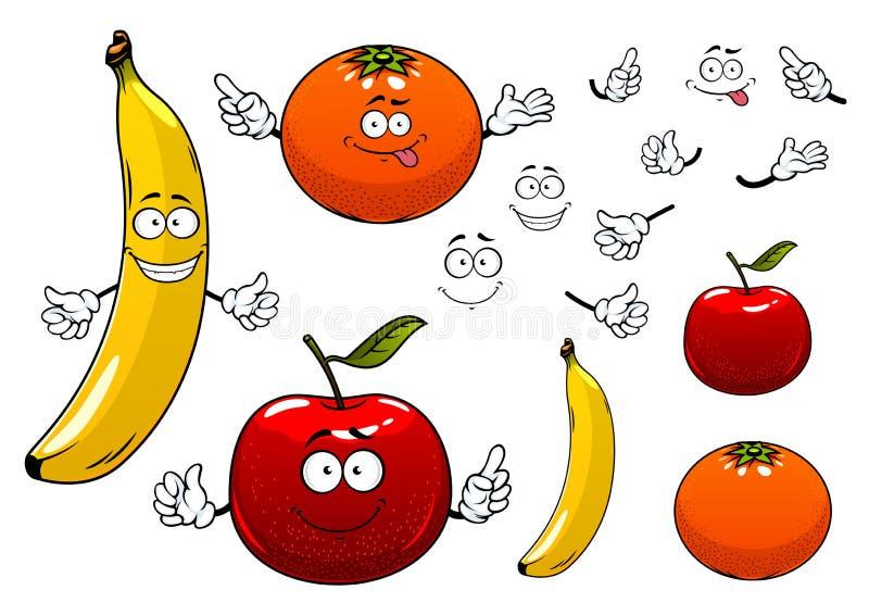 Van de van de beeldverhaalappel, sinaasappel en banaan vruchten royalty-vrije illustratie