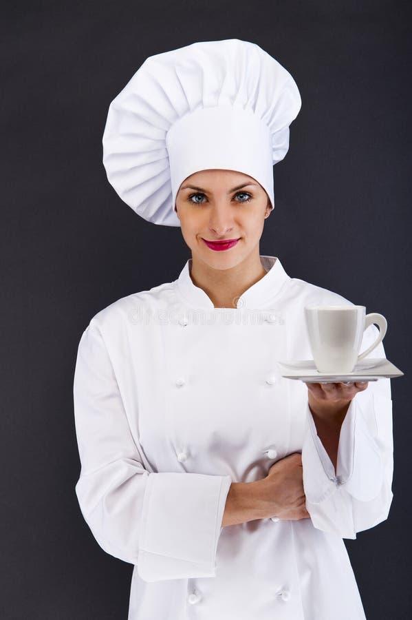 Van de van de vrouwenchef-kok, kok of bakker portret met caffekop royalty-vrije stock foto's