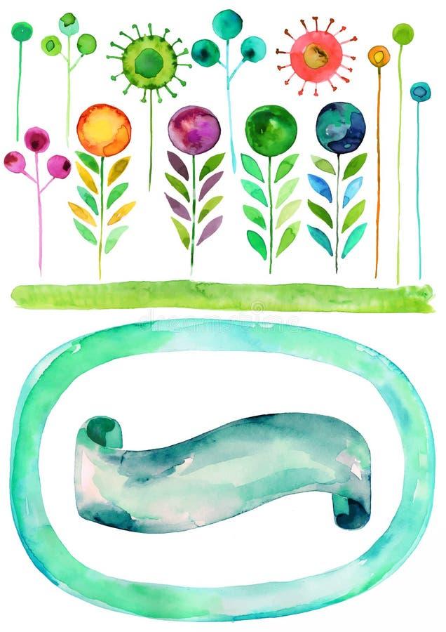 Van de van de waterverf bloemenvector, Lente en zomer waterverf vectortexturen, hand getrokken decoratieve reeks stock illustratie
