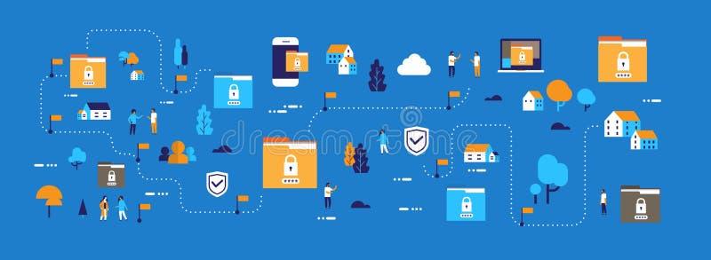 Van de de veiligheidsprivacy van het gegevensbescherminghangslot van het het gegevensbestandconcept het de omslagwachtwoord besch stock illustratie