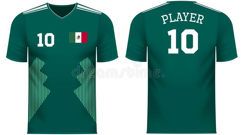 Van de Ventilatorsporten van Mexico het T-stukoverhemd in de generische kleuren van het land royalty-vrije illustratie