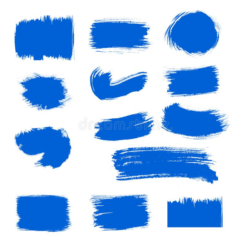 Van de de verfkwaststreek van de inzamelings roepen de vector blauwe inkt vastgestelde Hand getrokken grunge decoratieve kwaststr royalty-vrije illustratie
