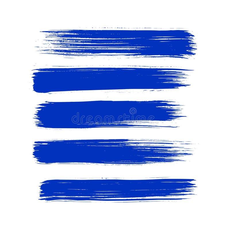Van de de verfkwaststreek van de inzamelings roepen de vector blauwe inkt vastgestelde Hand getrokken grunge decoratieve kwaststr vector illustratie
