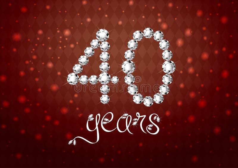 van de de verjaardags rode kaart van de de 40ste jaren het gelukkige verjaardag aantal van de uitnodigings witte diamanten stock illustratie