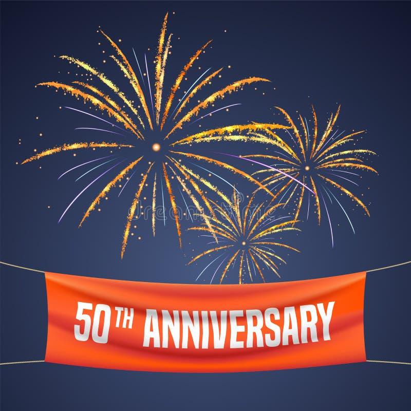 50 van de verjaardags vectorjaar illustratie, banner, vlieger, embleem stock illustratie