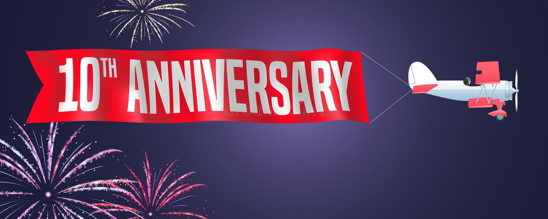 10 van de verjaardags vectorjaar illustratie, banner, vlieger, pictogram, symbool, teken Ontwerpelement met tweedekker en vuurwer vector illustratie