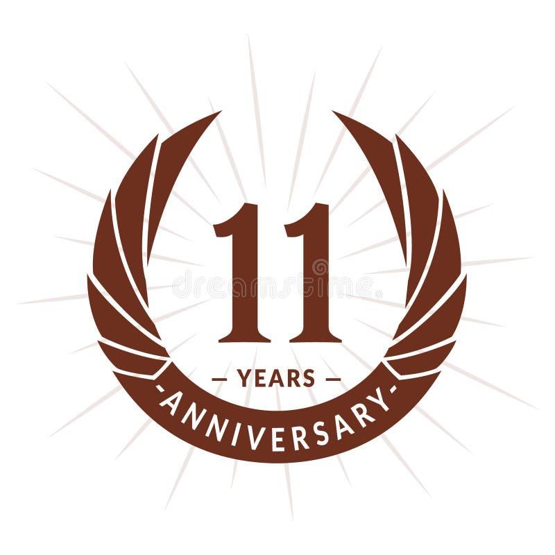 11 van de verjaardagsjaar ontwerpsjabloon Het elegante ontwerp van het verjaardagsembleem Elf jaar embleem stock illustratie