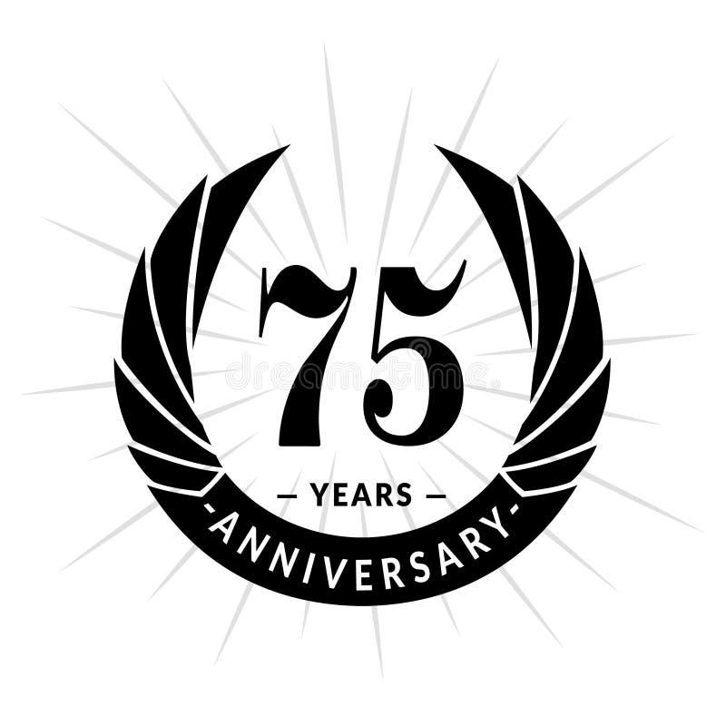 75 van de verjaardagsjaar ontwerpsjabloon Het elegante ontwerp van het verjaardagsembleem Vijfenzeventig jaar embleem vector illustratie