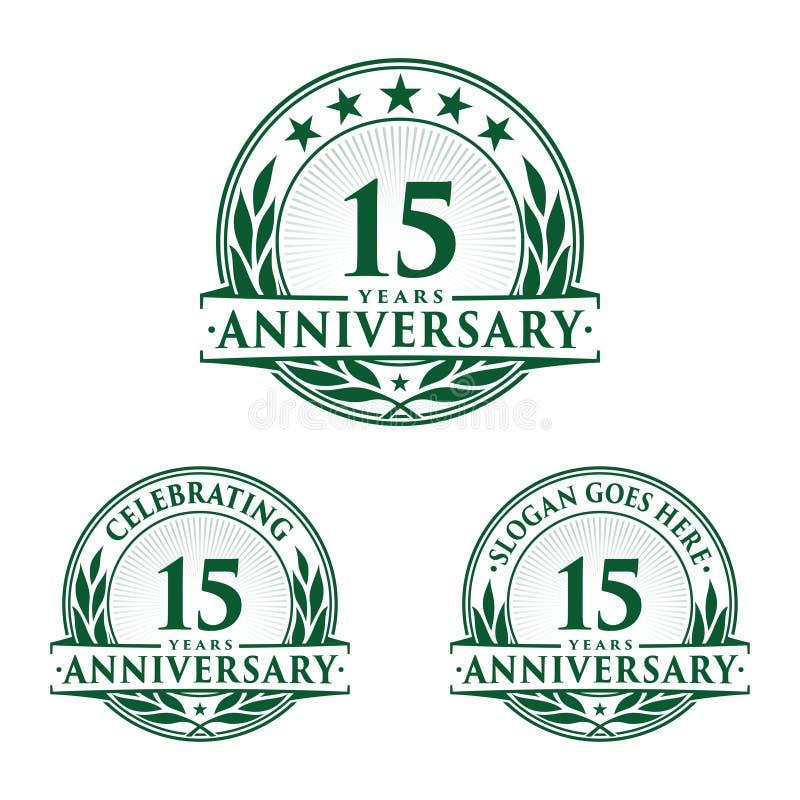 15 van de verjaardagsjaar ontwerpsjabloon Verjaardagsvector en illustratie 15de embleem vector illustratie