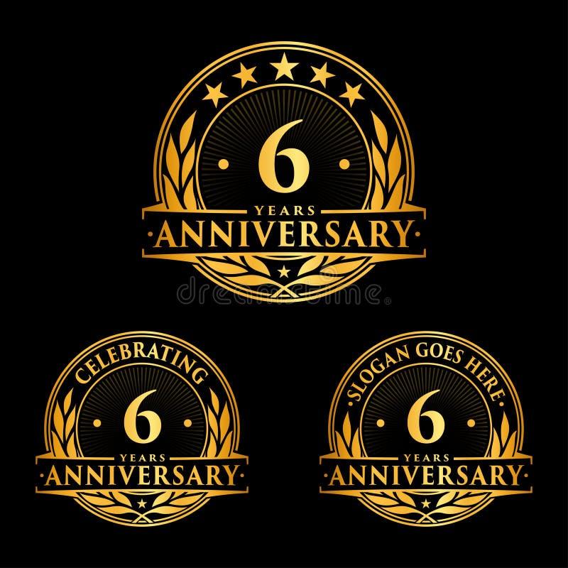 6 van de verjaardagsjaar ontwerpsjabloon Verjaardagsvector en illustratie 6de embleem royalty-vrije illustratie