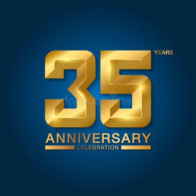 35 van de verjaardagsjaar viering logotype Gouden verjaardagsembleem met lint Ontwerp voor boekje, pamflet, tijdschrift, brochure stock illustratie